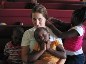 Ellie with some of her new friends at Frederiksted Baptist Church (photo by Meredith Booth)